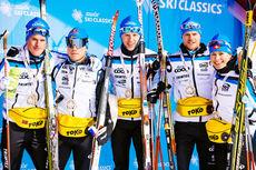 Morten Eide Pedersen, lengst til venstre, gjorde sine saker bra på åpningen av Swix Ski Classics 2014-2015 og hans lag, Team Coop, leder nå det hele. Foto: Swix Ski Classics.