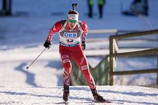 Emil Hegle Svendsen på vei mot 3. plass på sprinten i verdenscupen i Pokljuka 2014. Foto: Manzoni/NordicFocus.