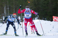 Tarjei Bø underveis på sprinten i verdenscupen i Pokljuka 2014. Foto: Manzoni/NordicFocus.