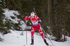 Marte Olsbu ute på sprint under verdenscupen i Pokljuka 2014. Foto: Manzoni/NordicFocus.
