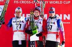 De tre beste gutta på 15 km fri under verdenscupen i Davos 2014. Fra venstre: Petter Northug jr. (2), Anders Gløersen (1) og Chris Jespersen (3). Foto: Laiho/NordicFocus.
