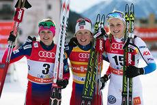 Topptrioen på damenes fristilssprint i Davos 2014. Fra venstre: Maiken Caspersen Falla (3), Marit Bjørgen (1) og Stina NIlsson (2). Foto: Laiho/NordicFocus.
