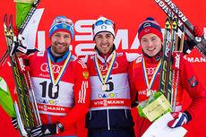 Seierspallen på fristilssprinten i Davos 2014. Fra venstre: Alexey Petukhov (2), Federico Pellegrino (1) og Finn Hågen Krogh (3). Foto: Laiho/Manzoni.