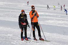 Johanna Ojala og Emil Weberg Gundersen, trenerteamet i Team LeasePlan Go, på samling i Ramsau 2014. Foto: Geir Olsen/Team LeasePlan Go.