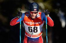 Martin Johnsrud Sundby ute på fjerde etappe i Tour de Ski 2015. Han ble nummer tre på 10-kilometeren i Toblach. Foto: Felgenhauer/NordicFocus.