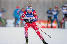 Johannes Thingnes Bø inn mot sin sjuende verdenscupseier i Ruhpolding. Foto: Manzoni