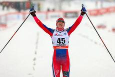 Astrid Uhrenholdt Jacobsen gikk inn til sin første verdenscupseier siden 2008 på 10 km fri i Rybinsk 2015. Foto: Laiho/NordicFocus.