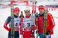Topp 3 på verdenscupsprinten i Rybinsk 2015. Fra venstre: Andrey Parfenov (3), Federico Pellegrino (1) og Sergey Ustiugov (2). Foto: Laiho/NordicFocus.