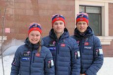 Julie Myhre, Fredrik Riseth, Johannes Høstflot Klæbo er Byåsens tre på den første dysten, sprinten under junior-VM 2015 i Almaty. Foto: Erik Borg.