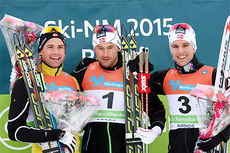 Seierspallen på 30 km skiatlon under NM på Røros 2015. Fra venstre Niklas Dyrhaug (2. plass), Petter Northug (1) og Didrik Tønseth (3). Foto: Geir Nilsen/Langrenn.com.