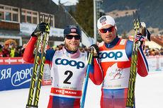 Martin Johnsrud Sundby og Petter Northug etter 5. etappe i Tour de Ski 2015. Foto: Felgenhauer/NordicFocus.