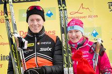 Vinnerne av König Ludwig Lauf 2015 heter Petter Eliassen (Team LeasePlan Go) og Britta Johansson Norgren (Team SkiProAm). Foto: Magnus Östh/Swix Ski Classics.