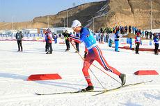 Johannes Høsflot Klæbo på vei mot nest beste tid i sprintprologen under Junior-VM i Almaty og Kasakhstan 2015. Foto: Erik Borg.