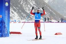 Sondre Turvoll Fossli jubler over seieren på sprinten under U23-VM i Almaty og Kasakhstan 2015. Foto: Erik Borg.