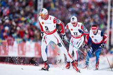 Niklas Dyrhaug på vei mot 7. plass i skiathlon under Falun-VM 2015, like bak følger Didrik Tønseth som ble nr. 4 i mål og bak der igjen gullvinner Maxim Vylegzhanin. Foto: NordicFocus.