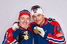 Konkurrentene var sjanseløse mot Finn Hågen Krogh (til venstre) og Petter Northug på lagsprinten under Falun-VM 2015. Foto: NordicFocus.