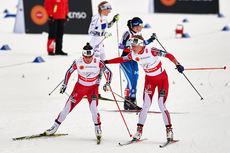 Her veksler Astrid Uhrenholdt Jacobsen til ankerkvinne Marit Bjørgen på VM-stafetten i Falun 2015, 18 sekunder foran nærmeste forfølger. Foto: NordicFocus.