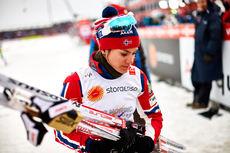 Heidi Weng etter stafettgullet under VM i Falun 2015, der hun gikk 1. etappe for Norge. Foto: NordicFocus.