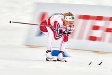 Therese Johaug ute på sin 2.-etappe under VM-stafetten der det endte med klart norsk gull. Foto: NordicFocus.