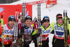 Det franske bronselaget på VM-stafetten i Falun 2015. Fra venstre: Robin Duvillard, Maurice Manificat, Jean Marc Gaillard og Adrien Backscheider. Foto: NordicFocus.