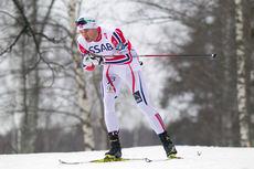 Petter Northug ute på stafetten som han avgjorde til Norges fordel under VM i Falun 2015. Foto: NordicFocus.