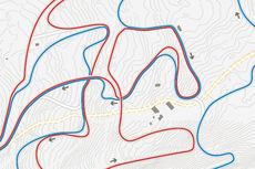 Utsnitt av løypekart for 30 km kvinner og 50 km menn i VM Falun 2015.
