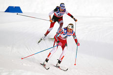 Martine Ek Hagen, i front, er første av Norges damer ut fra start lørdag. Foto: NordicFocus.