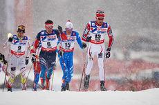 Didrik Tønseth fører feltet under VM-femmila i Falun 2015, der han ble nummer 8. Foto: NordicFocus.