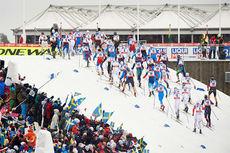 Feltet på herrenes 50 km under Falun-VM 2015. Helt bakerst ser vi vinneren Petter Northug. Foto: NordicFocus.