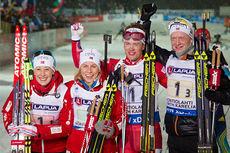 Norges bronselag på mix-stafetten under VM i Kontiolahti 2015. Fra venstre: Fanny Welle-Strand Horn, Tiril Eckhoff, Tarjei Bø og Johannes Thingnes Bø. Foto: NordicFocus.