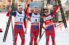 De tre beste gutta på verdenscupsprinten i Drammen 2015. Fra venstre: Ola Vigen Hattestad (3.-plass), Eirik Brandsdal (1) og Finn Hågen Krogh (3). Foto: Felgenhauer/NordicFocus.