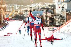 Eirik Brandsdal jubler over seier i sesongens siste verdenscupsprint i Drammen 2015. Foto: Felgenhauer/NordicFocus.