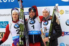 Seierspallen på herrenes normaldistanse, med (f.v.) Kristoffer Langøien Skjelvik (2.-plass), Eirik Bratli (1) og Henrik L-Abée-Lund (3). Foto: Frank og Simen Haughom.