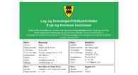 Skjermbilde av oversikten over lag og foreninger/fritidsaktiviteter i Evje og Hornnes