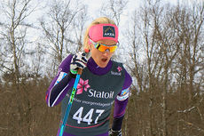 Kathrine Harsem ute på 5-kilometeren i klassisk stil under NM i Harstad 2015. Det endte med hennes første NM-gull. Foto: Erik Borg.