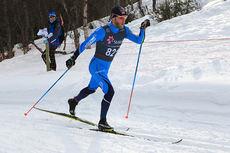 Martin Johnsrud Sundby ute i løypa på 10-kilometeren under NM i Harstad. Gullet ble til slutt hans. Foto: Erik Borg.
