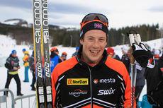 Andrew Musgrave staket seg inn til tredjeplass på 10-kilometeren under NM i Harstad 2015. Foto: Erik Borg.