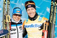 Seraina Boner og Petter Eliassen etter at de vant Årefjällsloppet, finalen i Swix Ski Classics 2014/2015. Foto: Magnust Östh/Swix Ski Classics.