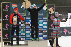 De tre beste i menn 17 år under juniorenes Norgescupfinale i Harstad. Fra venstre: Thomas Helland Larsen (2.-plass), Jørgen Lippert (1) og Vebjørn Hegdal (3). Foto: Erik Borg.