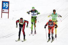 Anders Aukland (rød), Stanislav Rezac (grønn), Øystein Pettersen (gul) og vinneren Petter Eliassen (oransje) utgjør tetkvartetten i Vasaloppet 2015 ved 19 kilometer igjen til mål. Foto: Felgenhauer/NordicFocus.