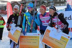 De to beste fra hvert kjønn i Fjälltopphelgens Supersprint 2015. Fra venstre: Ludvig Søgnen Jensen (1.-plass), Anton Persson (2), Stina Nilsson (2) og Maja Dahlqvist (1). Foto: Jan Eriksson.