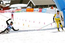 Så tett var spurten i Skarverennet 2015. Toni Livers (t.v.) vant 1 hundredel foran Martin Johnsrud Sundby. Foto: Skarverennet.