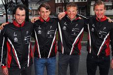 Nye løpere på Team ParkettPartner foran 2015/2016-sesongen. Fra venstre: Simen Engebretsen Nordli, Thomas Gjestrumbakken, Vinjar Skogsholm og Kjetil Tyrom. Foto: Team ParkettPartner.