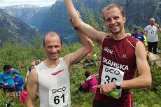 Kristen Skjeldal, til venstre, og Thorbjørn Ludvigsen ble nummer 2 og 1 under Rimstigen Opp 2015. Foto: Gudleik Klette.