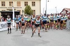 Starten går i Olaf Skoglunds Minneløp. Foto: Nils Lande / Kragerø Blad.