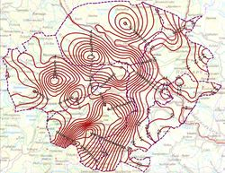 På bildet ser du endringane frå det gamle høgdereferansesystemet til det nye for Nord-Gudbrandsdalen. Klikk på bildet for å få sjå illustrasjonen større. Illustrasjon: Kartverket