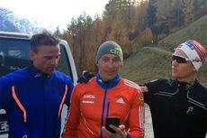 Alexander Legkov (midten) sammen med Niklas Dyrhaug (t.v.) og Didrik Tønseth. Skjermdump fra www.instagram.com/allroundgutta