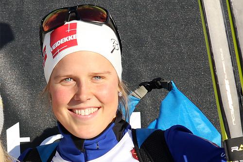 Kari Øyre Slind etter sin 3. plass på 7,5 km klassisk under Beitosprinten 2015. Foto: Geir Nilsen/Langrenn.com.