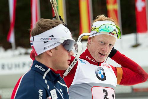 Brødrene Tarjei Bø (foran) og Johannes Thingnes Bø. Foto: Manzoni/NordicFocus.