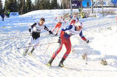 Kvartfinale-heat under sprinten i Beitosprinten 2015. Fremst Even Northug, deretter følger brødrene Tomas og Petter. Foto: Erik Borg.
